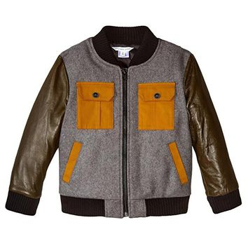 Little Marc Jacobs Boys Leather & Wool Teddy Bomber