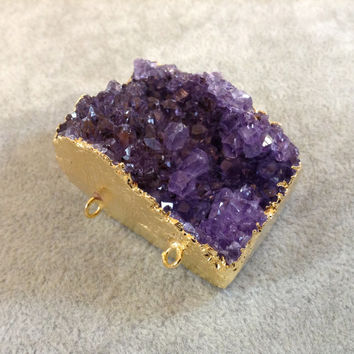 Gold-Plated Amethyst Crystal Rectangle Druzy 3-Ring Pendant/Connector