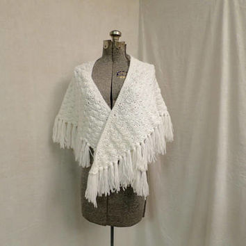 Vintage White Shawl Wrap  Hand Crocheted Shell Stitch  Summer Wrap Acrylic Yarn 30 x 56 in Triangular Shawl Wrap w/ 4 inch Fringed Edge