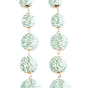 Color Cord Wrapped Five Chunky Ball Earrings Mint Green