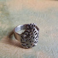 "Stainless Steel Ring, Cut Out Ring, Size 8 Ring, Fish Ring, Midi Ring Silver Ring Pisces Ring ""2015 SALE"""