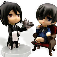 2 Styles Nendoroid Kuroshitsuji Black Butler Sebastian Michaelis Ciel PVC Model Toys Figure Doll With Box Free Shipping