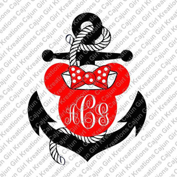 Red Black Nautical Anchor Disney Minnie Mouse Personalized w/ Initials Printable Iron On Transfer DIY Instant Download