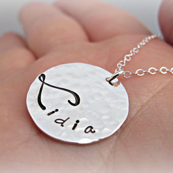 Hand Stamped Personalized Necklace Mommy Jewelry Kids Name Necklace Sterling Silver Bridesmaid Gift