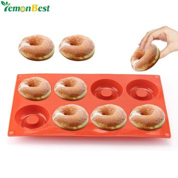 8 Cups Food Grade Silicone Doughnut Mold Donut Muffin Chocolate Cake Candy Cookie Cupcake Baking Mold Mould Pan Party Gift Maker