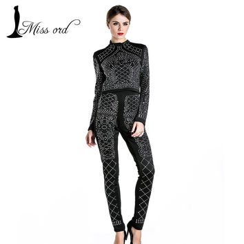 Free shipping Missord 2015 Sexy two-piece design Long sleeve geometry studded jumpsuit  FT3618