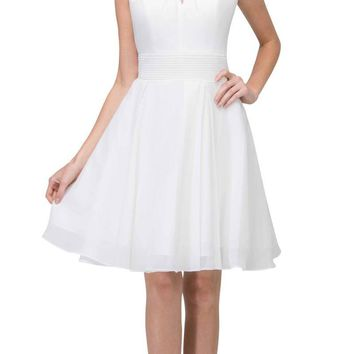 Off White A-line Short Homecoming Dress Keyhole Neckline