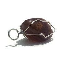 Brown Carnelian Quartz Pendant Wire Wrapped Stone Pendants Metaphysical Necklaces Reiki Jewelry Making Womens Gifts Craft Supplies Crystal