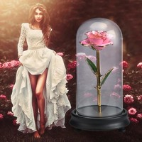Artificial Flower Pink Metal Rose in Glass Dome Beauty and the Beast Artificial Decoration for Wedding Festival Christmas Gift