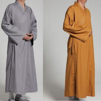 2colors Autumn&Spring Buddhist Monks Cotton robe buddhism zen suits shaolin kung fu meditation uniforms lay clothing