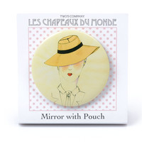 Vintage Hat Rendering Compact Mirror in Tan & Black