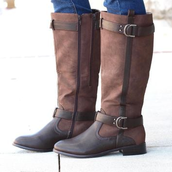 Emerson Suede + Leather Buckle Riding Boots {Brown}
