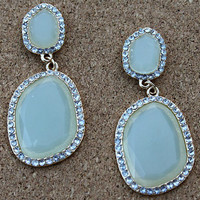 Stone Dangle Earrings - Mint Green Quartz Colored Stone & Gold with Rhinestone Accents