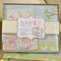 New arrivals new born baby theme diy photo album set with scrapbooking paper and 3D stickers Gift kit