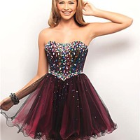 City Lights Rhinestone & Tulle Strapless Short Prom Dress - Unique Vintage - Cocktail, Pinup, Holiday & Prom Dresses.