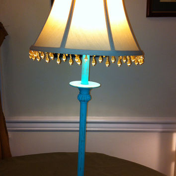 Tall candlestick turquoise blue distressed brass table lamp with beaded shade