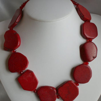 Red Turquoise Cowgirl Statement Necklace, Chunky Western Rodeo Slab Bead Jewelry, Big Bold Turquoise Bead Southwestern Necklace & Earrings