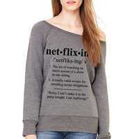 Grey Wideneck - Netflixing Definition - Oversized Sweatshirt Sweater Jumper Pullover