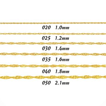 "Mens Womens 14K Real Solid Yellow Gold Singapore Chain Necklace 1.0mm ~ 2.1mm 16"" 18"" 20"" 22"" 24"""