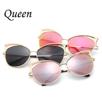 Fashion Retro Polarized eyeglasses Women Luxury Brand Designer Sunglasses metal frame oversized Cat Eye Sun glasses gafas de sol
