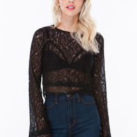 Give 'Em Bell Lace Crop Top