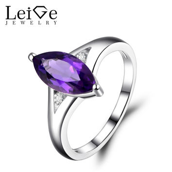 Amethyst Ring Marquise Cut Engagement Anniversary Rings Sterling Silver 925