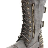 Nature Breeze Harley12 Brown Studded Lace Up Combat Boots and Shop Boots at MakeMeChic.com