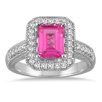 1.75 Carat Emerald Cut Pink Topaz and Diamond Ring in 14k White Gold