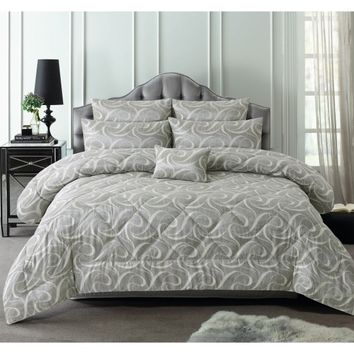 6 Piece 300TC Isabella Grey Jacquard Comforter Set by Accessorize