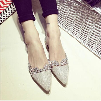 2016 summer new European and American fashion Women shoes transparent rhinestone sequins pointed Women sandals