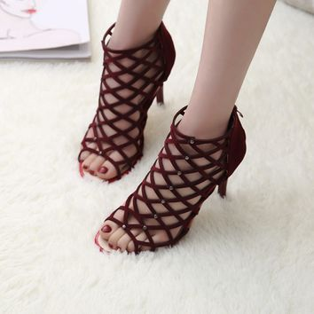 Summer Sandals Gladiator High Heels Women Sexy Open Toe Cross Strap Stilettos Pumps Genova Shoes Woman Roman Ankle Rivet Boots