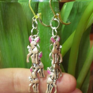 Sweet Bambi Deer Enamel Sterling Plated Pierced Clip Earrings | evezbeadz - Jewelry on ArtFire