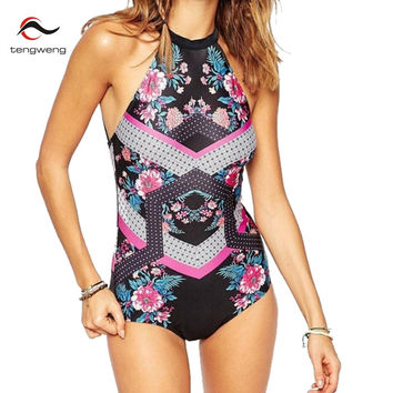 Tengweng  Sexy Vintage High Cut Floral Print High Neck One Piece Swimsuit Women Swimwear Fancy Backless BathingSuit Bodysuit