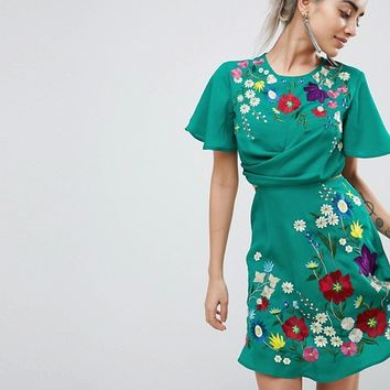 ASOS PETITE Ultimate Embroidered Cut Out Mini Tea Dress at asos.com