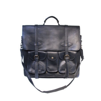 Leather Mens Briefcase Laptop Business Bag Convertible Backpack Custom Hide