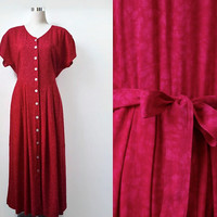Red Vintage Dress - 80s 90s - Long Floaty Maxi Dress With Shell Buttons