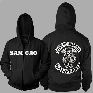 Xmas Gift Sons of Anarchy Thickening cotton-padded jacket SOA winter warm Hoodie Flannel Coats Soft Comfort Cashmere Sweatshirts = 5709302593