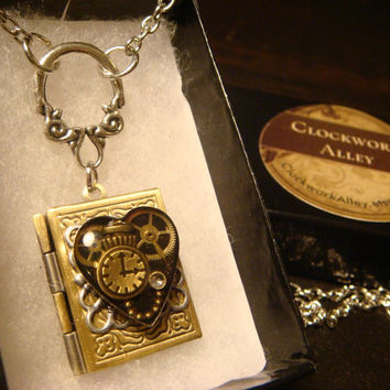 Steampunk Neo Victorian Clockwork Gears with Tiny Pocket Watch Upcycled Heart Book LOCKET Necklace- (1620)