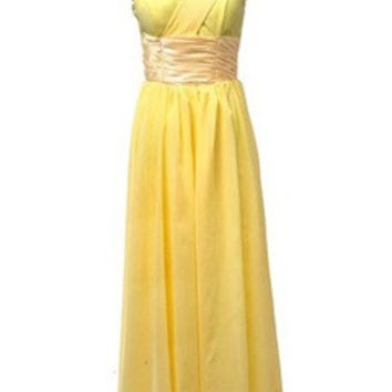 Silky Waistband One Shoulder Soft A-Line Dress In Daffodil