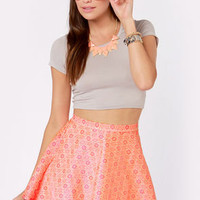 Brocade For Each Other Neon Coral Skirt