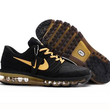 Nike Casual Running Sport Shoes Sneakers Black+gold hook