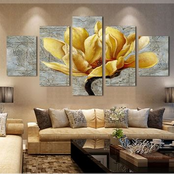 Fashion free shipping pictures canvas painting gold orchid flower