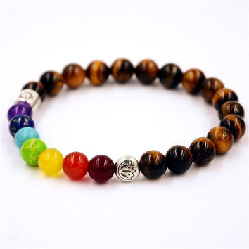 Muti-color Cool Man Lava Rock Beaded Stretch Bracelets Mala 7 Chakra Healing Balance Beads  Rhinestone Reiki Prayer Stones