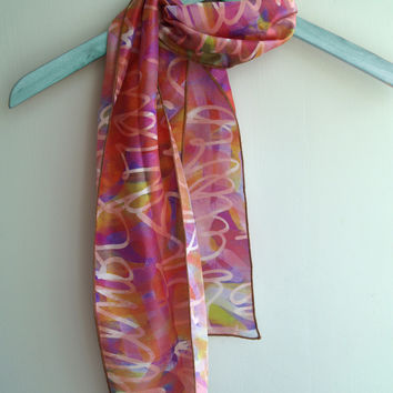 Pink Silk Scarf, Skinny Printed Lightweight Scarf, Graffiti Inspired, Mother's Day Gifts
