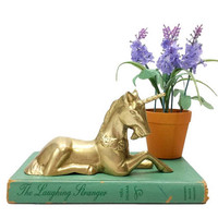 Brass Unicorn Figurine Laying Down Whimsical Animal Decor Majestic Mythical Fantasy Horse Vintage Childrens Nursery Room Home Office Accent