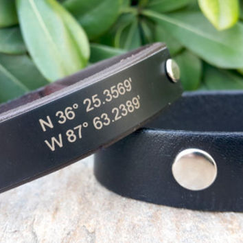 Personalized Coordinate Leather Mens Bracelet, Black Aluminium Plate, Latitude & Longitude Bracelet, Custom GPS Bracelet Coordinate Jewelry