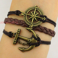 Anchor braceletcompass braceletcharm by CustomizeEra on Etsy
