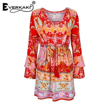 Everkaki Gypsy Collective Lotus Gown Boho Style Short Dress V Neck High Waist Flare Sleeve Print Dresses SpellDesign and gyps