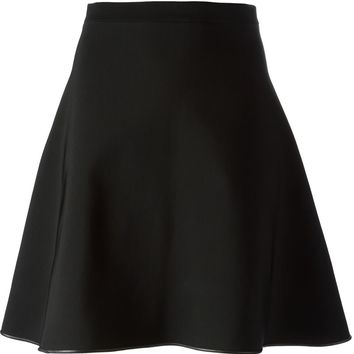 David Koma leather trimmed flared skirt