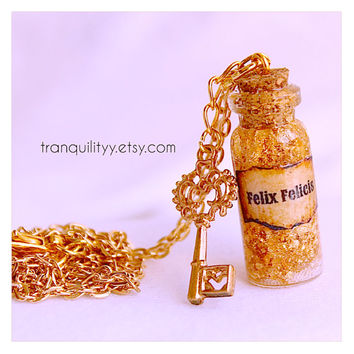 Felix Felicis Necklace Harry Potter Inspired , Liquid Luck ,glass vial  2ml  Bottle  , 24K Gold Leaf Flakes By: Tranquilityy